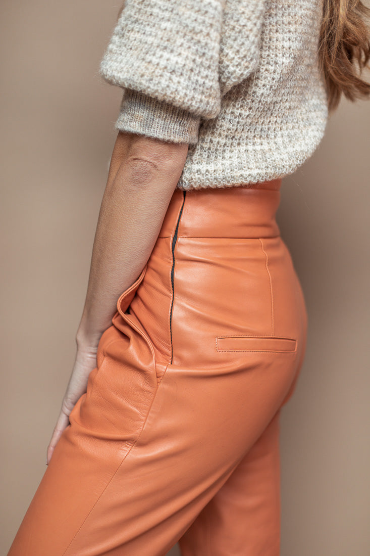 PANTALON CUIR ENZO BRANDIED MELON