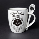 """Purrfect Brew"" Mug with Spoon"