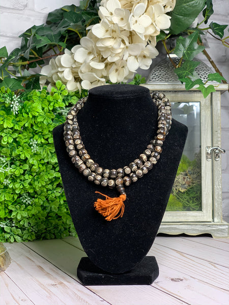 Carved Bone Mala Necklace