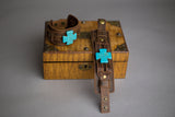 Bracelet - Sage Sisters Apothecary - Dusty Leather Wide Cuff with a Turquoise Cross - sage-sisters-apothecary
