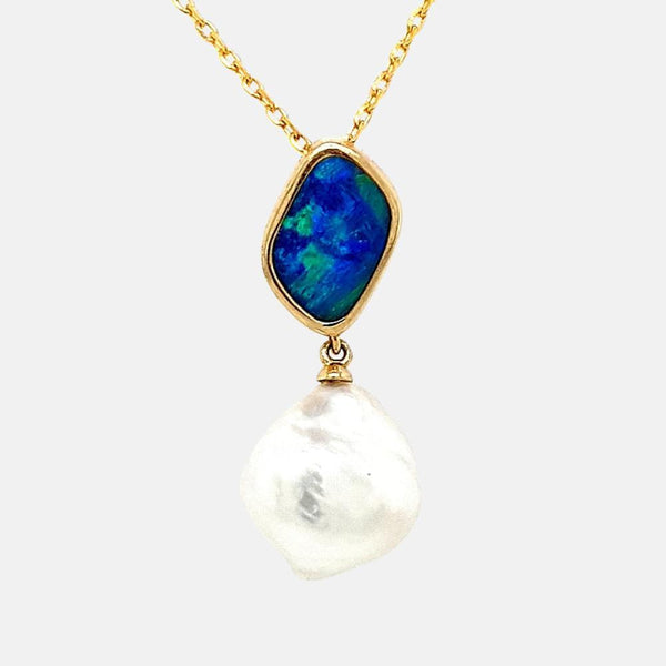 Opal & South Sea Keshi Pearl Pendant 9ct Yellow Gold