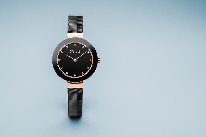Bering Ceramic Polished Rose Gold Black Mesh Watch