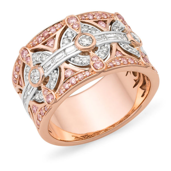 PINK CAVIAR 1.27ct Pink Diamond Ring in 9ct Rose & White Gold