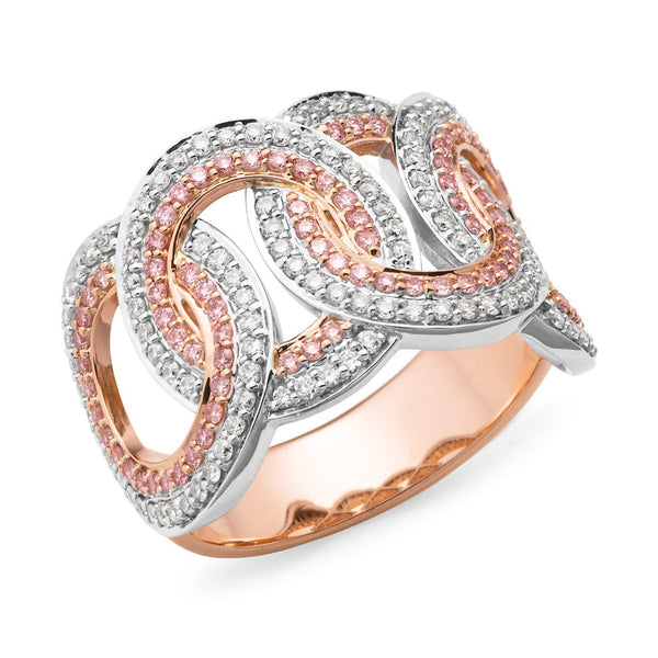 PINK CAVIAR 1.00ct Pink Diamond Ring in 9ct Rose & White Gold