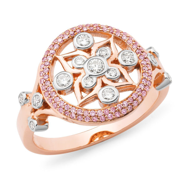 PINK CAVIAR 0.44ct Pink Diamond Ring in 9ct White & Rose Gold