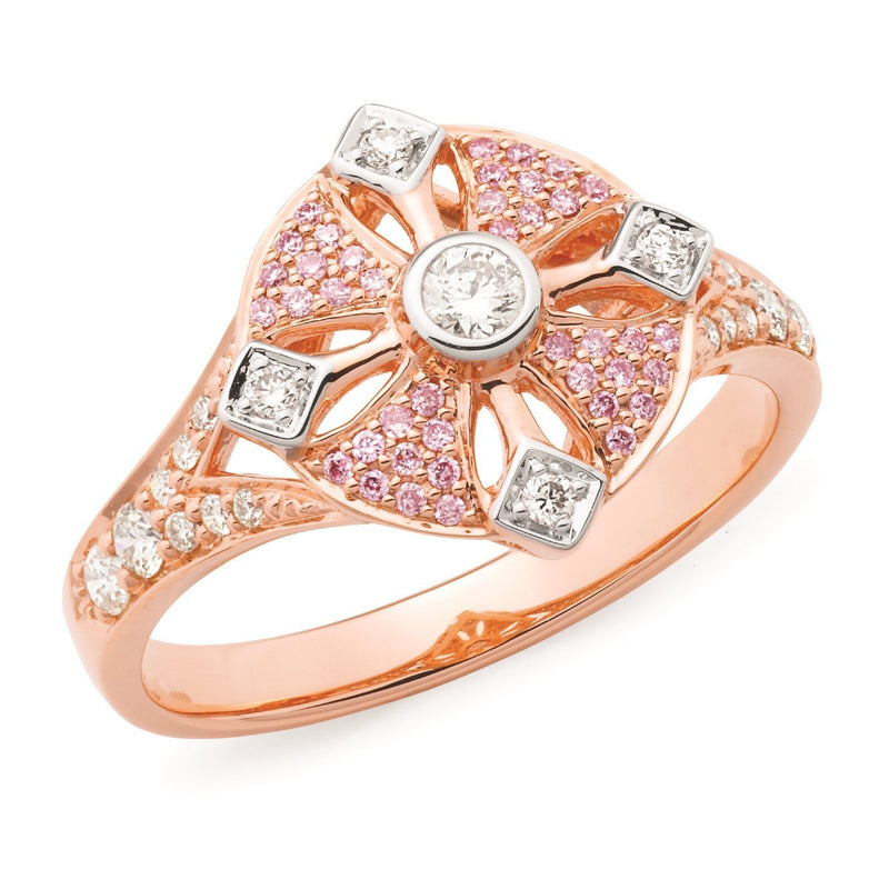 PINK CAVIAR 0.37ct Pink Diamond Ring in 9ct Rose Gold