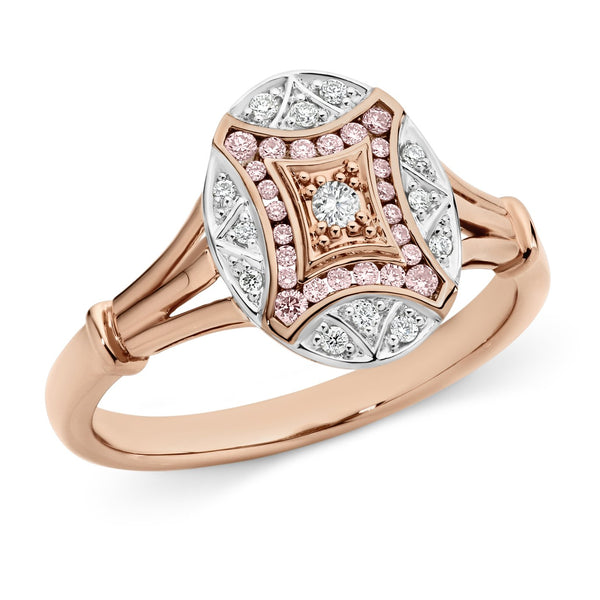 PINK CAVIAR 0.206ct Pink Diamond Ring in 9ct Rose & White Gold