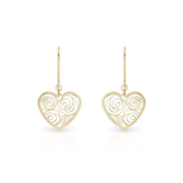 9Ct Gold Heart Drop Earrings