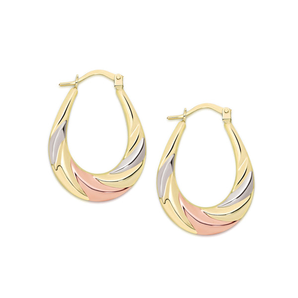 9Ct Tri Tone Gold Oval Hoop Earrings12X17Mm