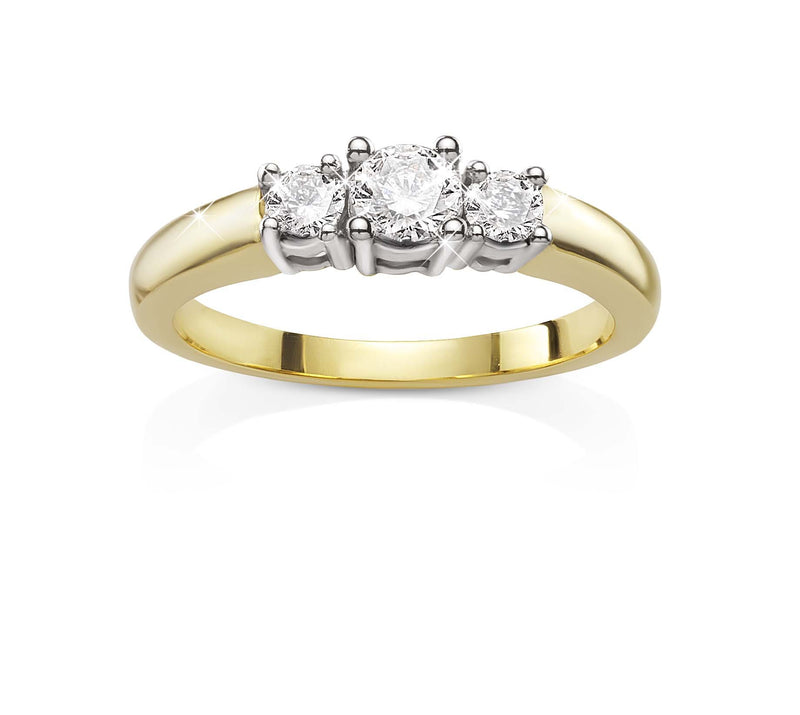 9Ct Yellow Gold 0.18Ct Diamond Ring