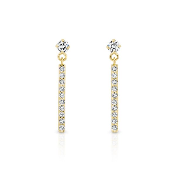 9Ct Yellow Gold Cubic Zirconia Drop Stud Earrings
