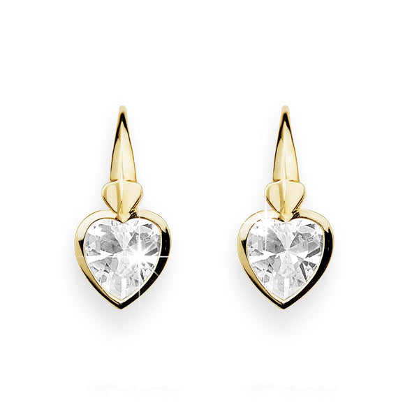 9Ct Yellow Gold Cubic Zirconia Drop Earrings