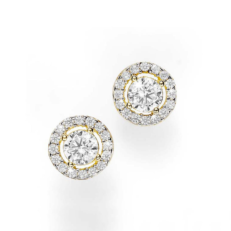 9Ct Yellow Gold Cubic Zirconia Round Halo Stud Earrings