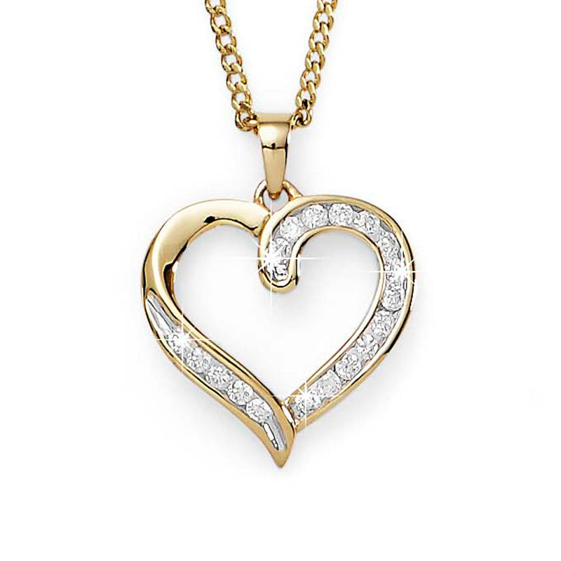 9Ct Yellow Gold 0.25ct Diamond Heart Pendant