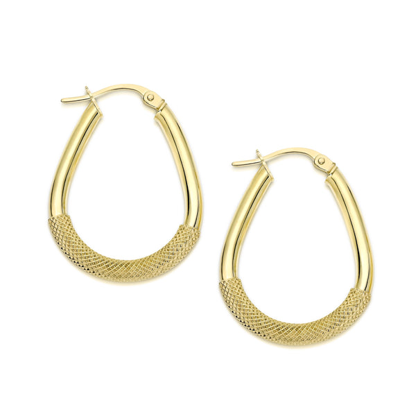9Ct Yellow Gold Fancy Oval 20Mm Hoop Earrings