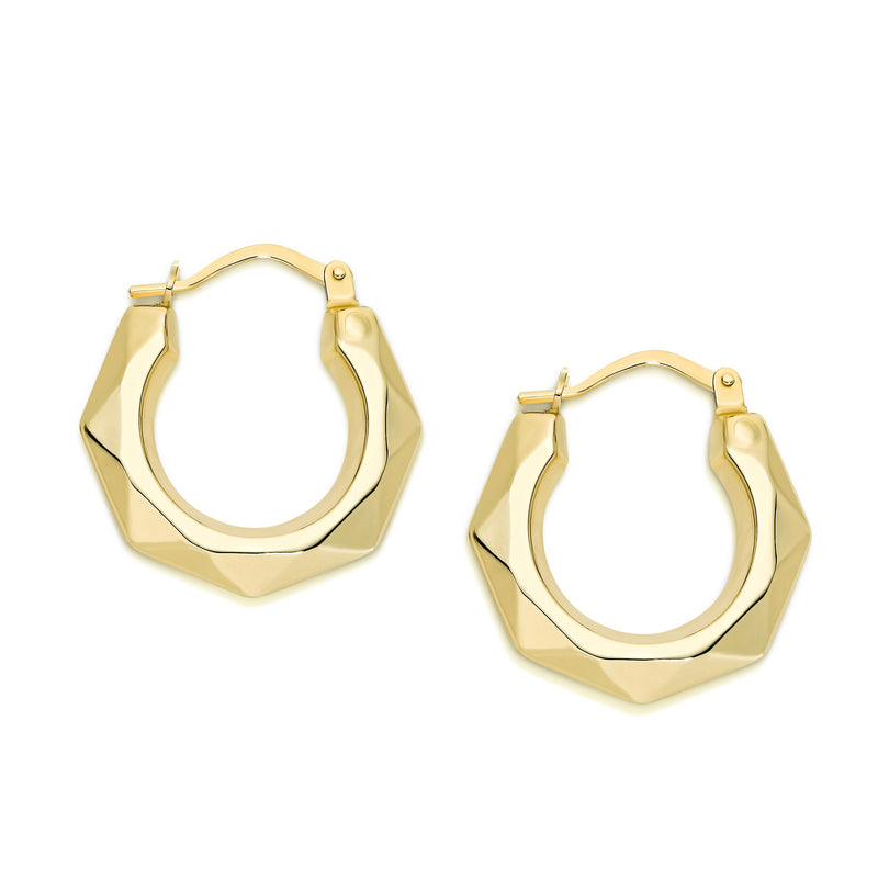 9Ct Yellow Gold Geometric 12Mm Hoop Earrings