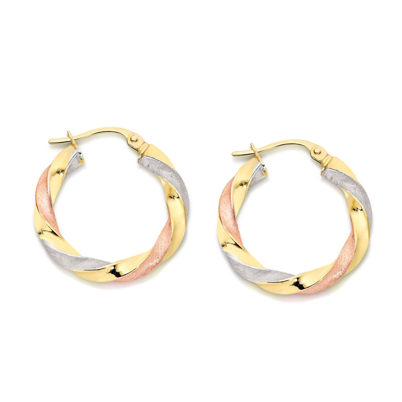 9Ct Yellow Gold Twist 15Mm Hoop Earrings