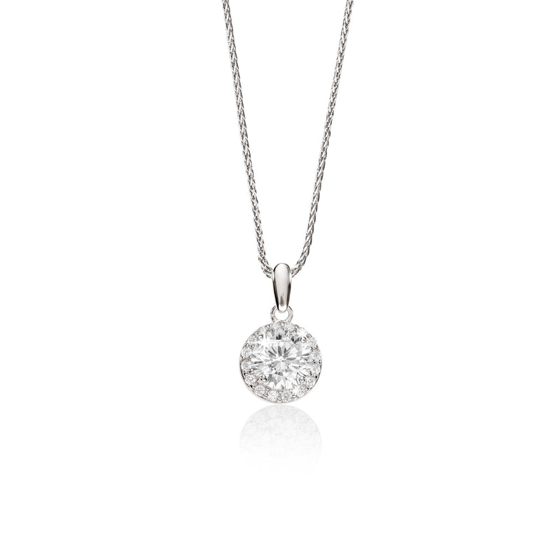 9Ct White Gold Cubic Zirconia Halo Pendant