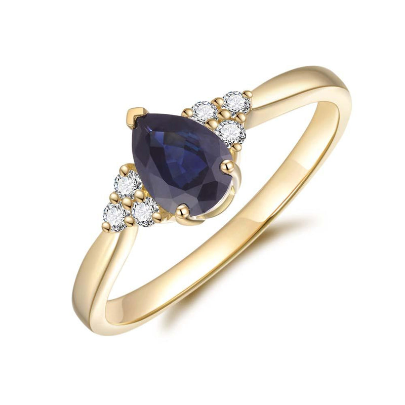 Blue Sapphire & Diamond Ring in 9ct Yellow Gold