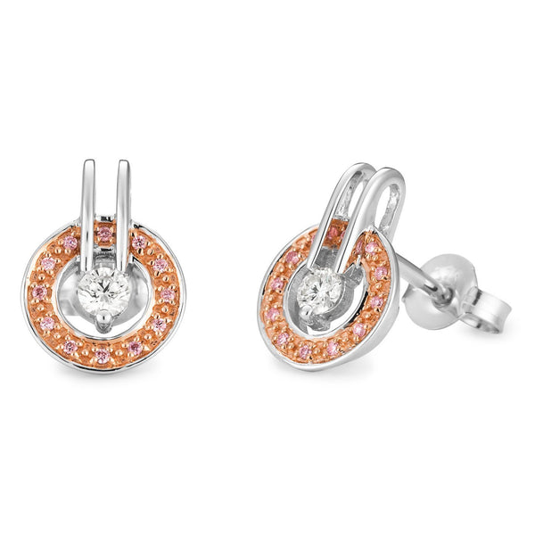 PINK CAVIAR 0.26ct Pink Diamond Earrings in 9ct White & Rose Gold