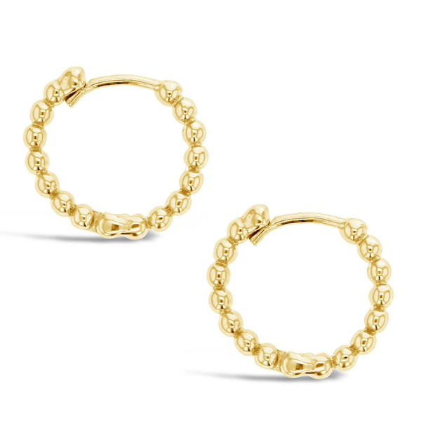 Beaded Huggie Earring in 9ct Yellow Gold