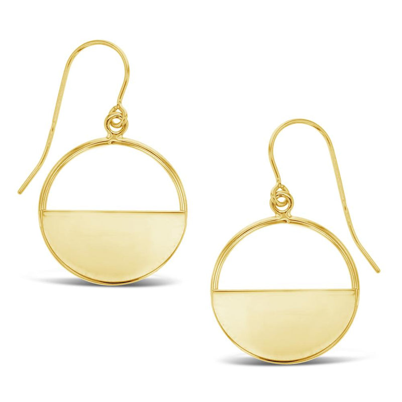 Geometric Half Circle Drop Earrings in 9ct Yellow Gold