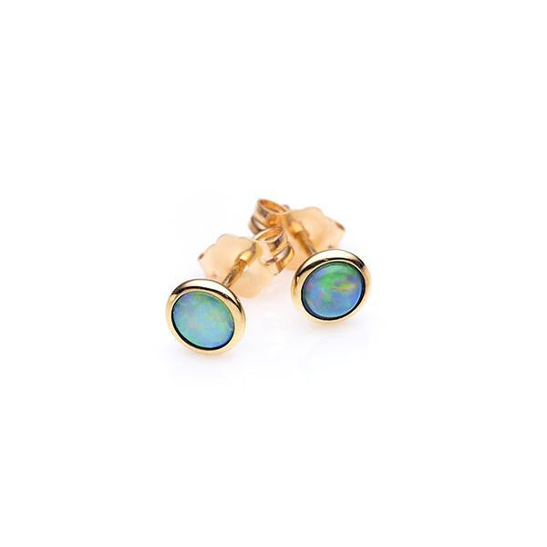 9Ct Yellow Gold White Opal Stud Earrings