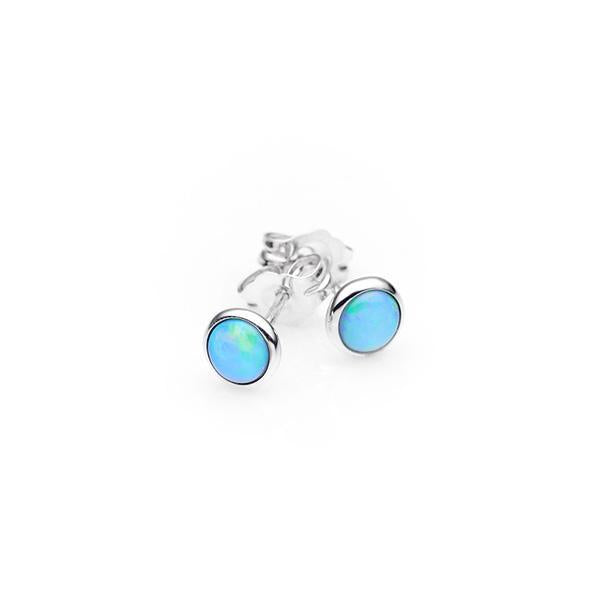 Sterling Silver White Opal Earrings