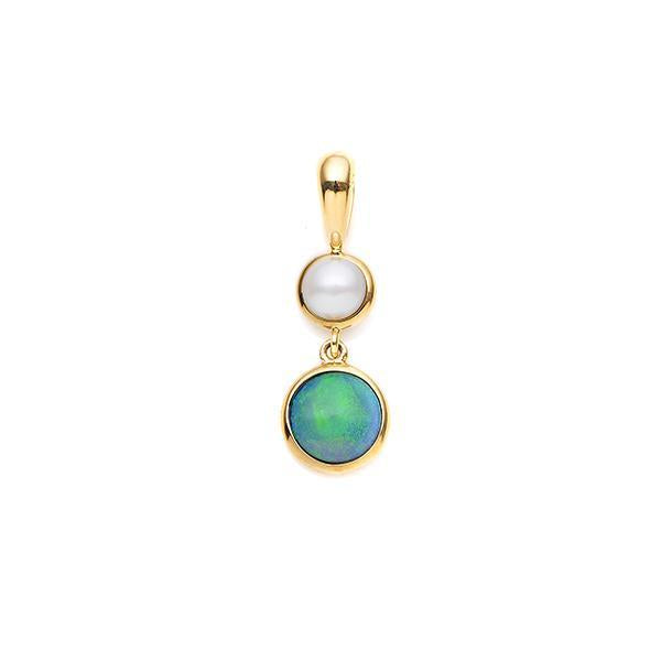 9Ct Yellow Gold White Opal & Freshwater Pearl Pendant