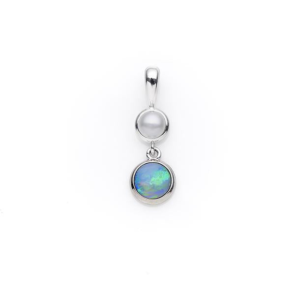 Sterling Silver White Opal & Freshwater Pearl Pendant