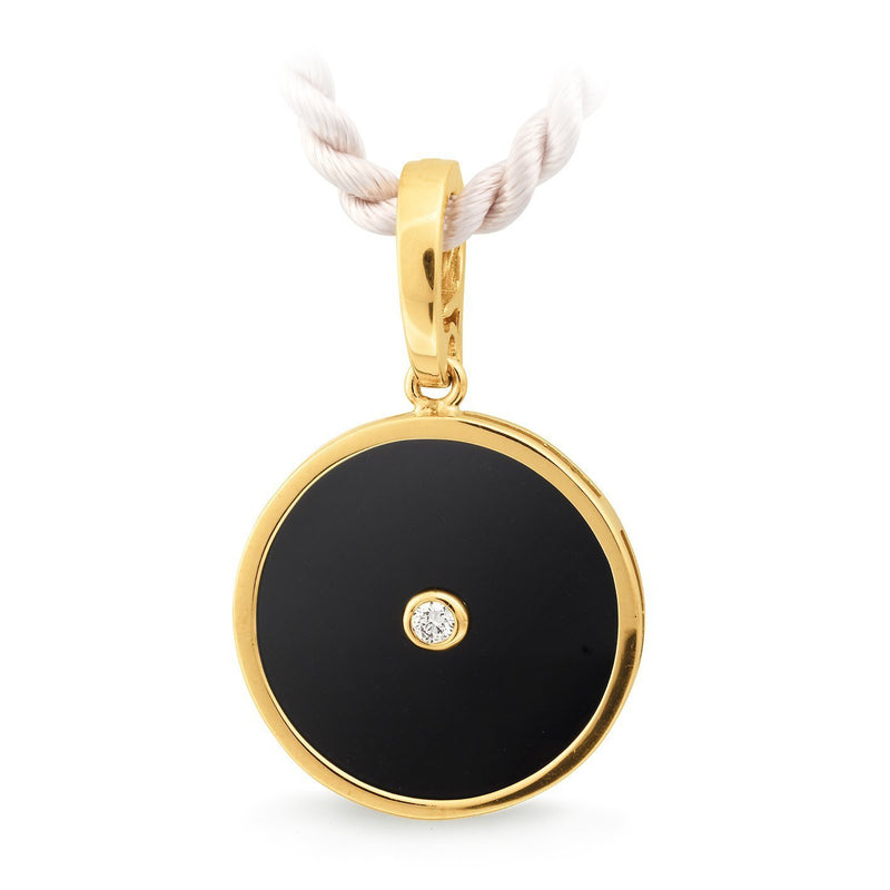Onyx & Diamond Bezel Set Pendant in 9ct Yellow Gold