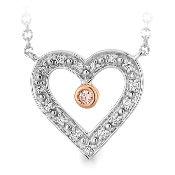 PINK CAVIAR 0.045ct Pink Diamond Necklet in 9ct White Gold