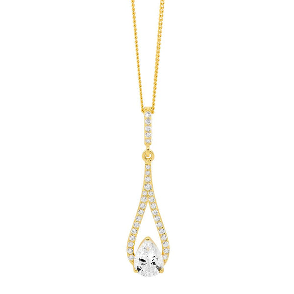 Gold Plated Sterling Silver Cubic Zirconia Pendant