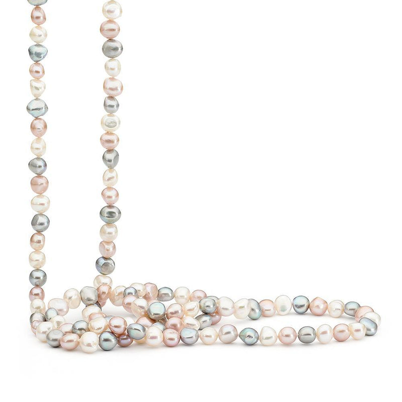 Sterling Sillver Multicoloured Pearl Necklet