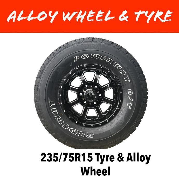 15 INCH ALLOY WHEEL AND LT TYRE (MULTIPLE SIZES)
