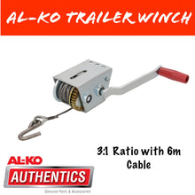 Load image into Gallery viewer, AL-KO 3:1 HAND WINCH With Wire Cable and S/S Hook