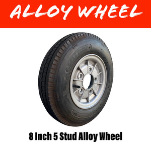 "8"" 5 STUD ALLOY WHEEL AND TYRE"
