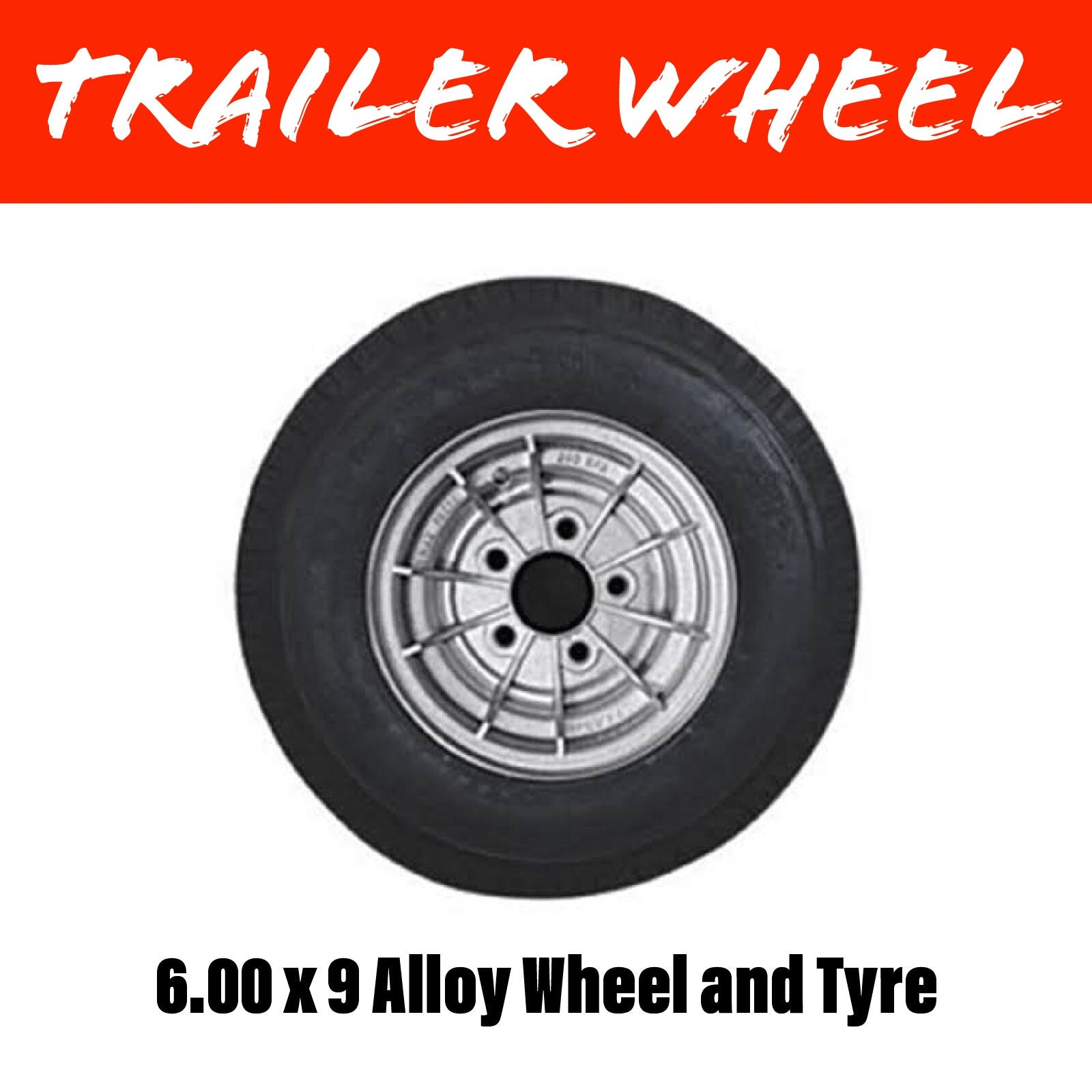9 INCH ALLOY WHEEL AND 6.00X9 TYRE