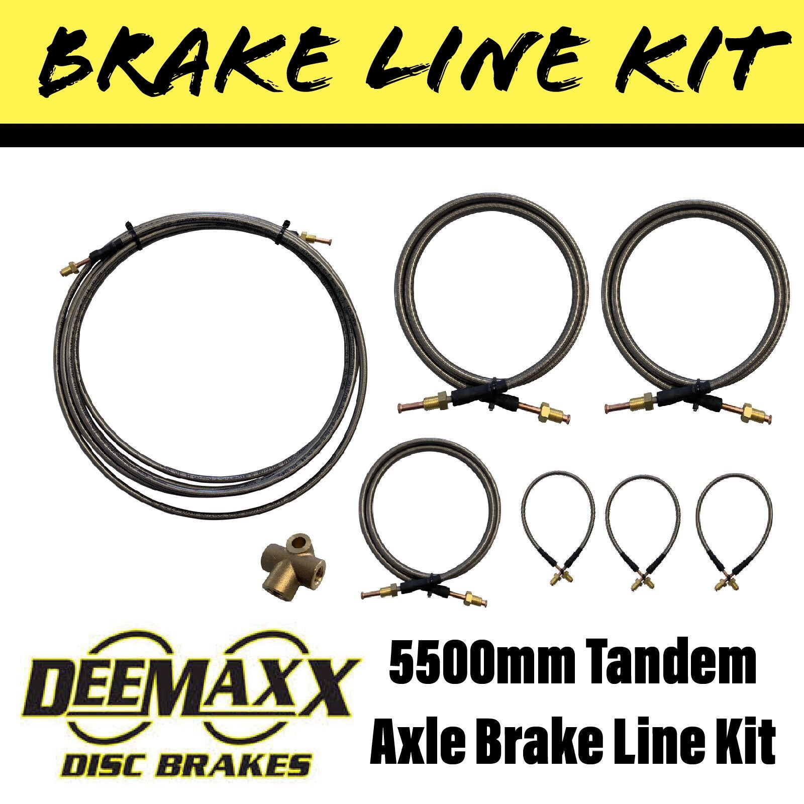 5500MM S/S FLEXIBLE BRAKE LINE KIT Tandem Axle
