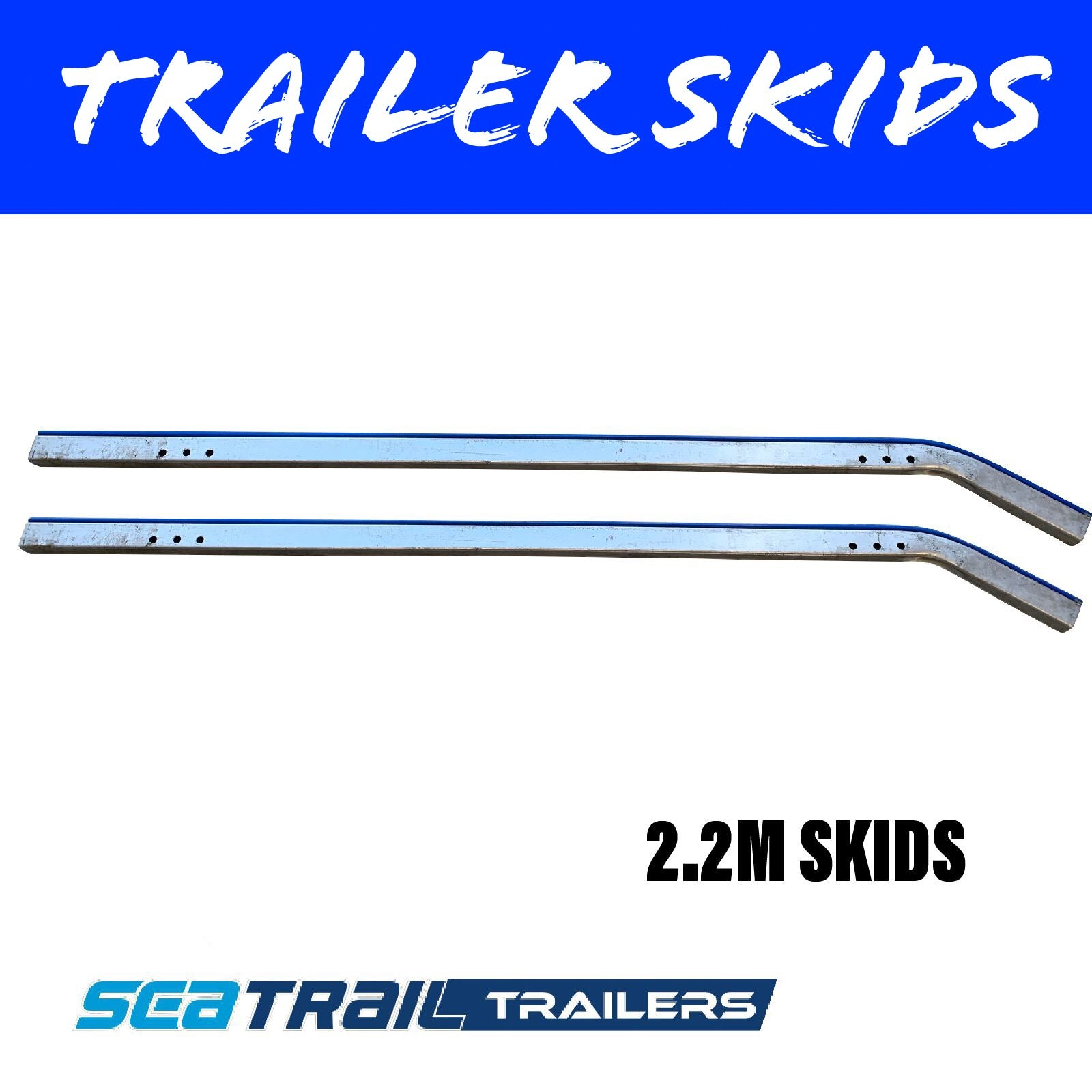 2.2M METAL BACKED Boat Trailer Skids Pair
