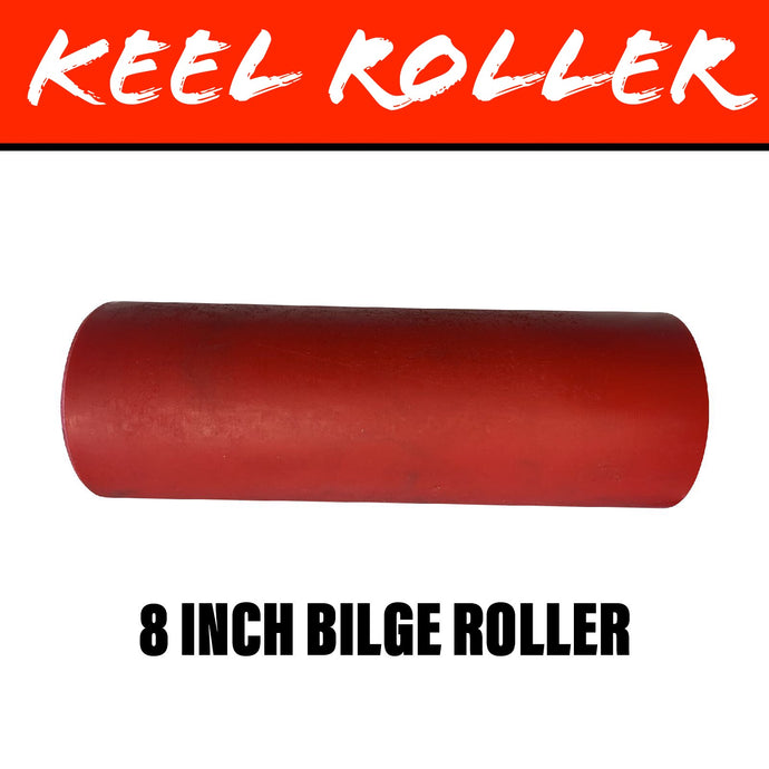 8 INCH RED POLY Flat Bilge Centre Roller