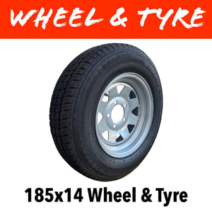 14 INCH GALVANISED WHEEL AND LT TYRE (MULTIPLE SIZES)