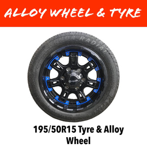 15 INCH ALLOY WHEEL AND 195/50R15 TYRE