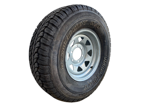 15 INCH GALVANISED WHEEL AND LT TYRE (MULTIPLE SIZES)