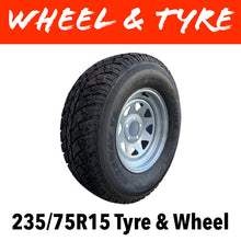 Load image into Gallery viewer, 15 INCH GALVANISED WHEEL AND LT TYRE (MULTIPLE SIZES)