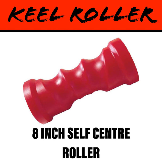 8 INCH RED POLY Self Centring Centre Roller