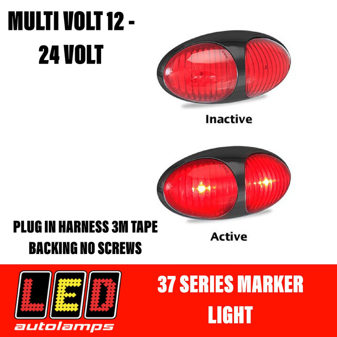 LED AUTOLAMPS Red Marker Lamp Easy Fit 3M Tape 5 Year Warranty