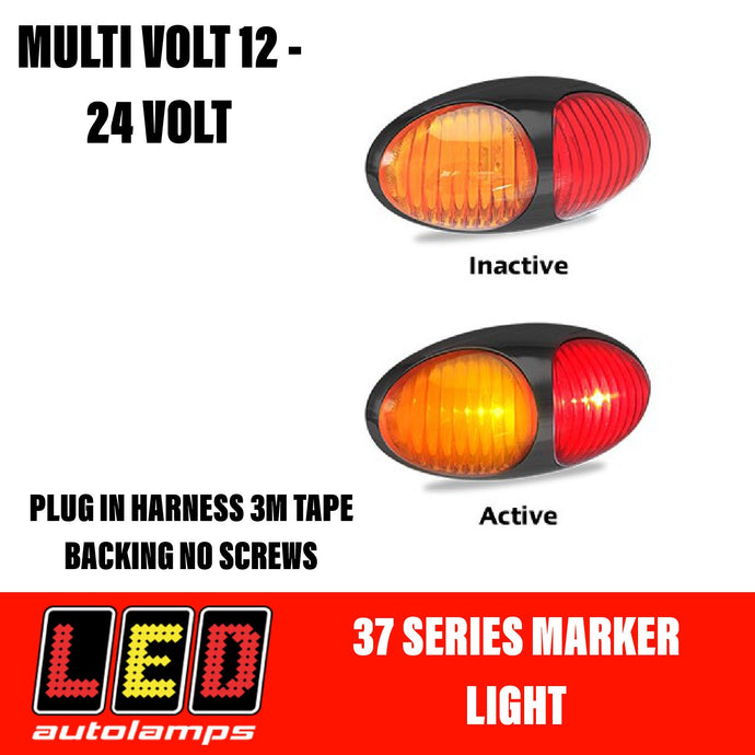 LED AUTOLAMPS Amber/Red Clearance Lamp Easy Fit 3M Tape 5 Year Warranty