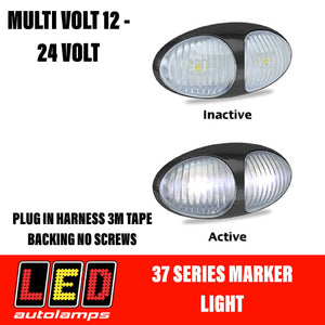 LED AUTOLAMPS White Marker Lamp Easy Fit 3M Tape 5 Year Warranty