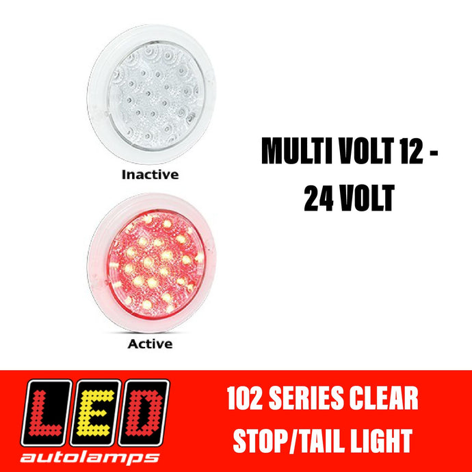 LED Autolamps 102 Series Clear Single Function Red Stop/Tail LED Light